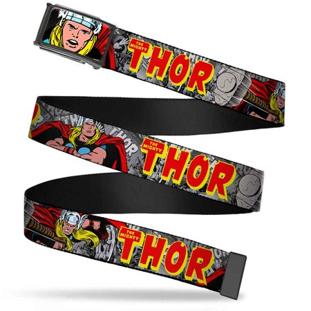 Marvel Comics Thor Face Close Up Fcg 1 0   Chrome The Mighty Thor Action Web Belt 1 0   Wide