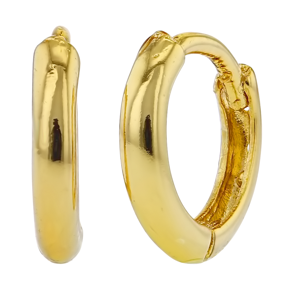 18k Gold Plated Small Plain 8mm Hoop Huggie Infants Girls Earrings