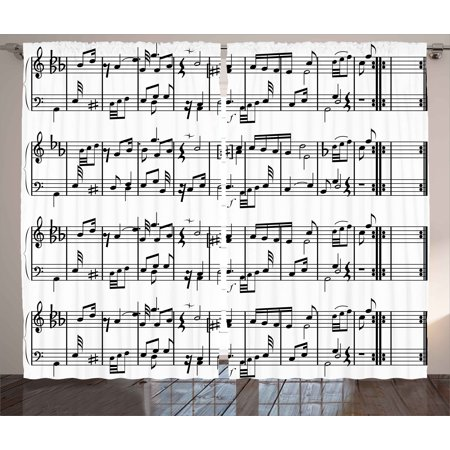 Artworks Home Pattern - Music Curtains 2 Panels Set, Musical Notes on the Clef Illustration Ornamental Artistic Pattern Artwork Print, Window Drapes for Living Room Bedroom, 108W X 63L Inches, Black and White, by Ambesonne