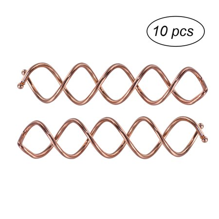 Girls and Women Spiral Twist Hair Pins Spin Clips Bun Stick Pick for DIY Hair Style , 10 Pcs (Rose Gold)