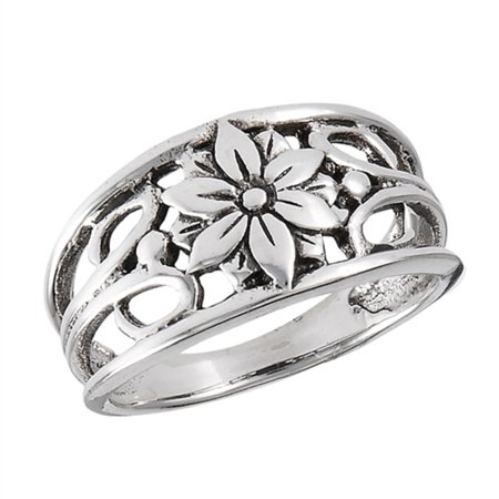 New .925 Sterling Silver Single Flower Filigree Fashion Ring - Sizes 5-9