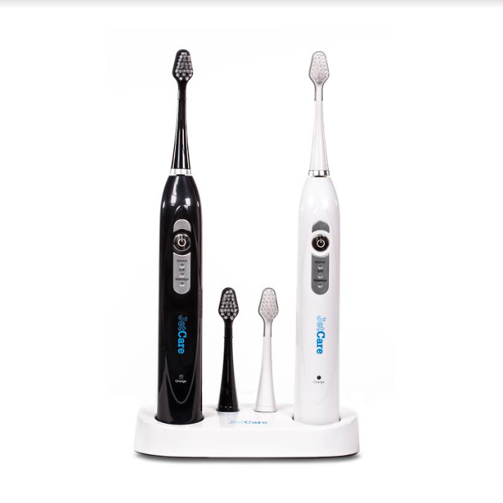 JetCare Power Series Rechargable Sonic Toothbrush w/ Charging Station, 3 Brush Modes, Includes 3 FREE Electric Toothbrush Replacement Heads (Black & White Twin Pack)
