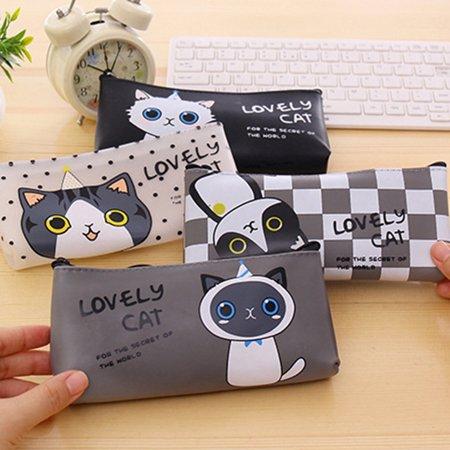 Heepo Cute Cartoon Cat Pencil Bag Waterproof Makeup Pouch Case Kids School Supplies - Cat Make Up Kids