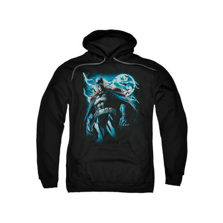 Batman DC Comics Stormy Knight Attack Stance Pose Adult Pull-Over Hoodie (Batman 70s)
