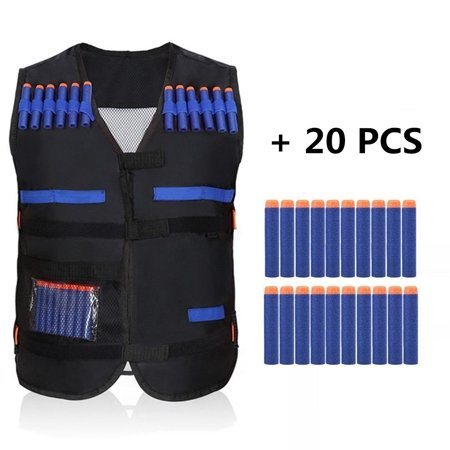 Elite Tactical Vest Kit with 20PCS Soft Foam Darts for Gun N-strike Elite Series ()