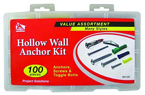 100 Pieces Hollow Wall Anchor Kit, Anchors, Screws & Toggle Bolts Many Styles by