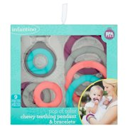Infantino Pop of Color Chewy Teething Pendant and Bracelets, 9 count