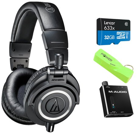 Audio Technica Ath M50x Professional Studio Headphones Black W Bundle Includes Blackhat Tech 2600Mah Port Keychain Power Bank Green   M Audio Bass Traveler Port Headphone Amp W Dual O P   2 Lev Boost