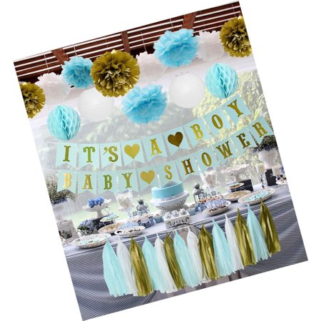 Blue Baby Shower Decorations IT'S A BOY Banner with Blue White Gold Tissue Paper - Tissue Paper Banner