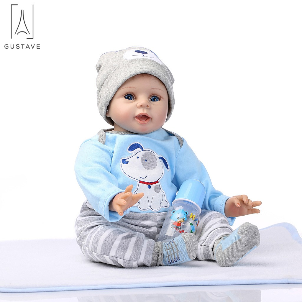 "GustaveDesign 22"" Simulation Reborn Baby Doll Soft Silicone Vinyl Lifelike Baby Boy with Blue Clothes for Kids Gifts"