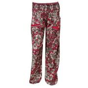 Mogul Womens Harem Pant Red Floral Print Trousers Comfy Pants