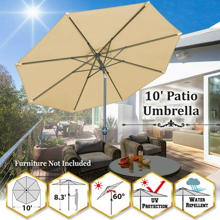 Sunrise Outdoor 10' Patio Umbrella 8 ribs Aluminum Pole with Tilt and Crank Outdoor Garden Market Parasol Sunshade (Beige) ()