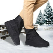 Winter Snow Shoes Covers,iClover 360 Degree Snow-Resistence Waterproof Rainproof PVC Fabric Zippered Shoe Covers Rain Boots Overshoes Protector Bike Motorcycle Women Men Kids Short Black L Size