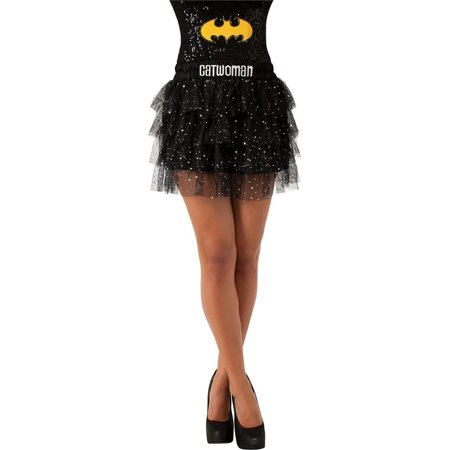 Catwoman Skirt with Sequins Std Batman Black Womens Costume Halloween New](Catwoman Costume With Skirt)