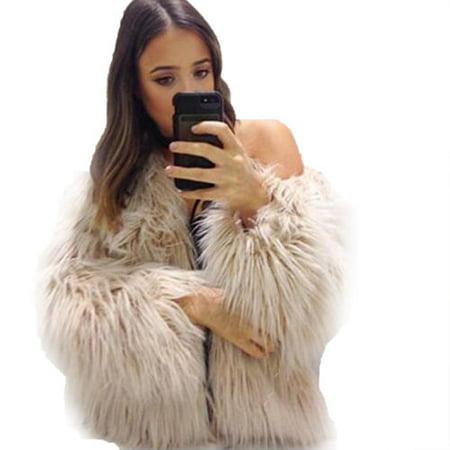 789e2ccf65c80 Womens Plus Size Warm Winter Loose Faux Fur Parka Coat Overcoat Long Sleeve  Jacket Outwear Luxury Party - Walmart.com