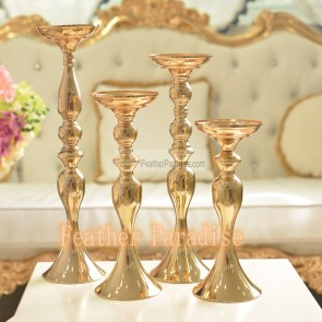 Wedding Flower Floral Stand /Pillar Candle Holder Feather Ball Centerpiece Stand Reversible- Gold 20 inch New!!!