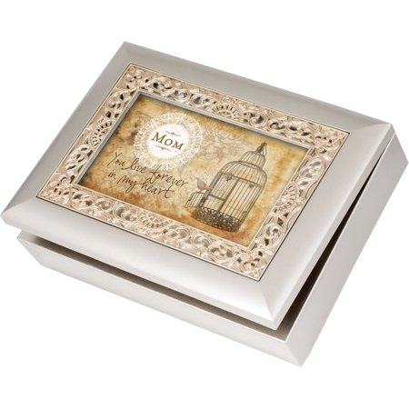 - Cottage Garden Mom Ornate Champagne Silver Music Box / Jewelry Box Plays Wind...