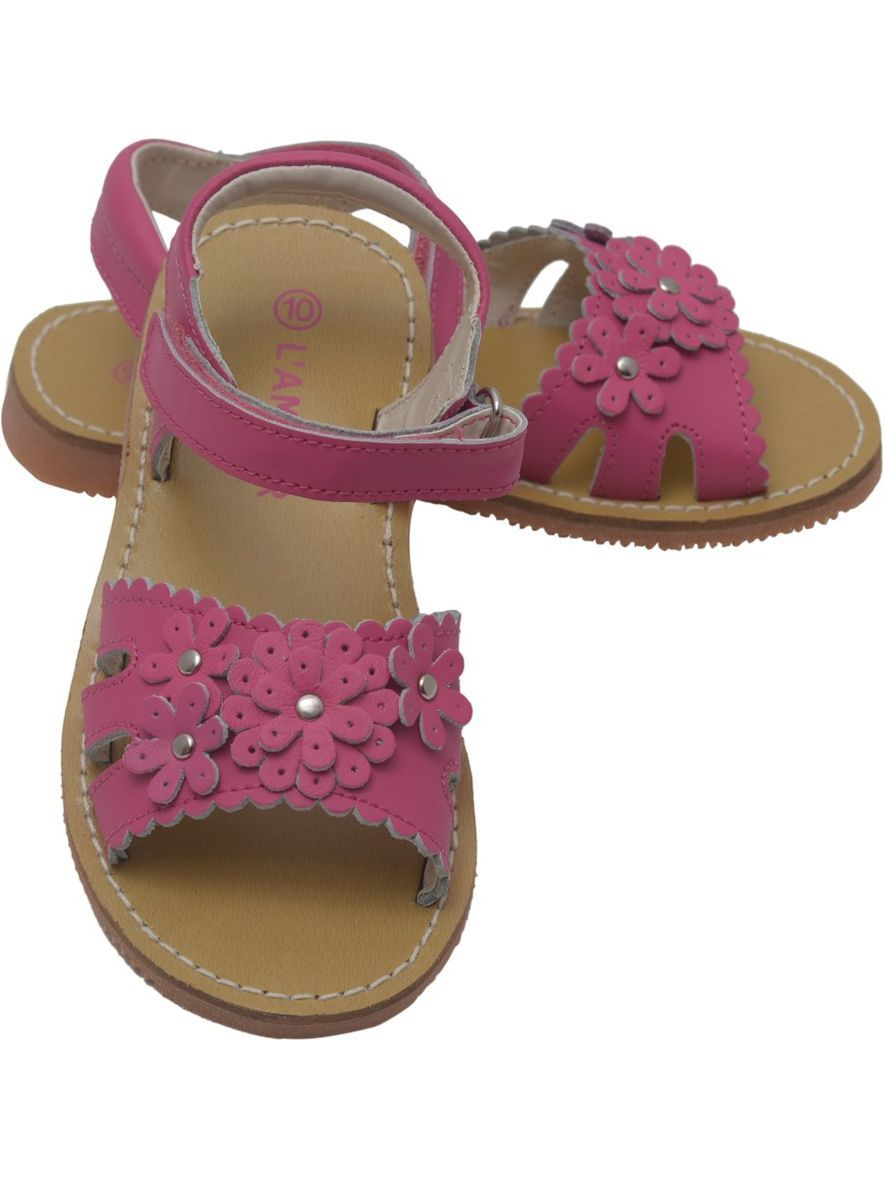 L'Amour Girls Fuchsia Scalloped 7-10 Flowers Closure Sandals 7-10 Scalloped Toddler 2c6808
