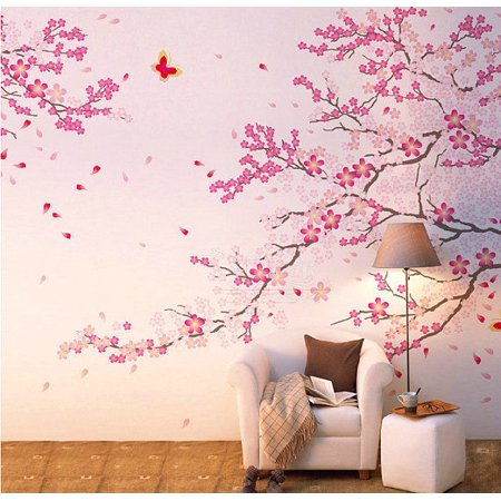 Fabricmcc Beautiful Pink Cherry Blossom With Butterfly Large Wall ...