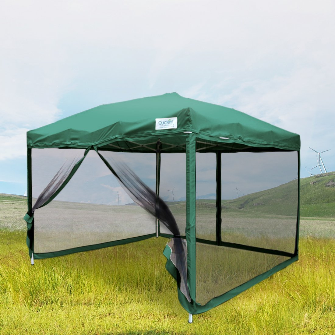 Quictent 10x10 Ez Pop up Canopy with Netting Screen House Instant Gazebo Party Tent Mesh Sides Walls With Carry BAG Tan by ML