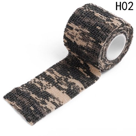 AkoaDa 1 Roll 4.5M Camouflage Tape Adhesive Plaster Camping Hunting Stretch Bandage Leaving Plastic Camouflage Tape Non-woven Outdoor Hunting Hunting Camouflage Riding Strap