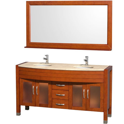 Wyndham Collection Daytona 60 inch Double Bathroom Vanity in Cherry, Ivory Marble Countertop, White Porcelain Undermount Sinks, and 60 inch Mirror