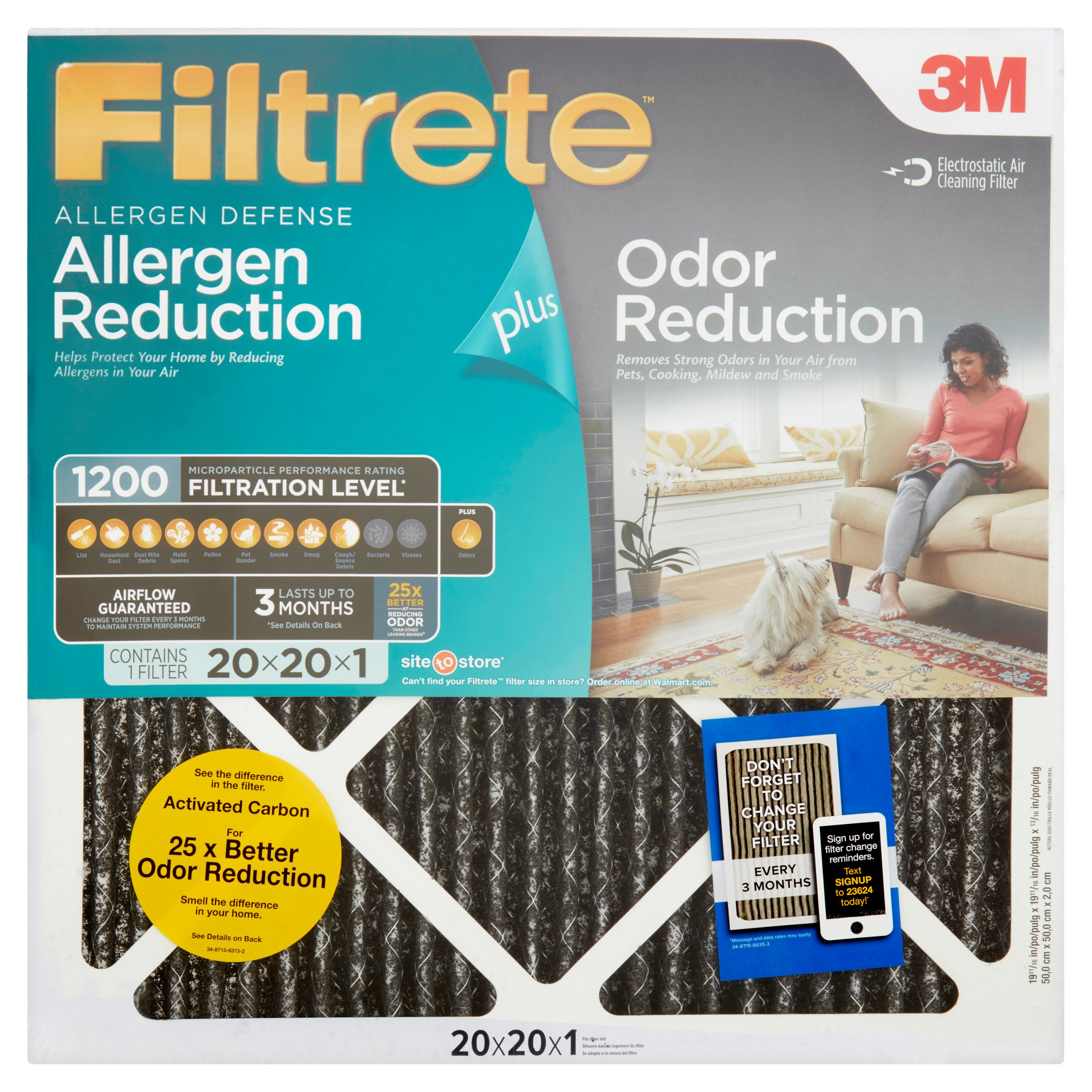 Filtrete Allergen Plus Odor Reduction HVAC Furnace Air Filter, 1200 MPR, 20 x 20 x 1, 1 Filter