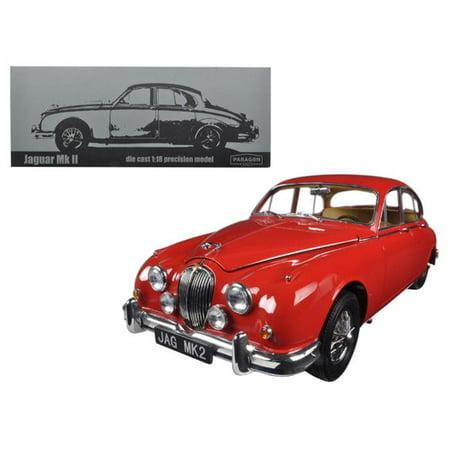 Paragon 98322 1 by 18 Scale Diecast 1962 Jaguar Mark 2 3.8 Carmen Red Left Hand Drive Model Car Hand Drive Car