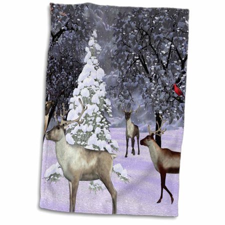 3dRose Reindeer And Pine tree In Snow With Cardinal - Towel, 15 by 22-inch
