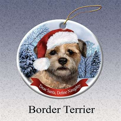 Holiday Pet Gifts Border Terrier Santa Hat Dog Porcelain Christmas Tree Ornament