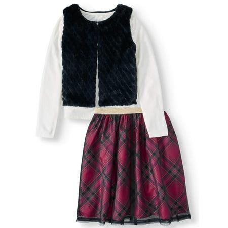 Wonder Nation Faux Fur Vest, Long Sleeve Top and Shimmer Tulle Skirt, 3-Piece Outfit Set (Little Girls, Big Girls & Plus) Little Kids Teal Apparel