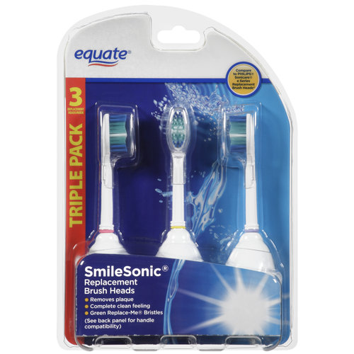 Equate Smilesonic Replacement Brush Heads, 3ct