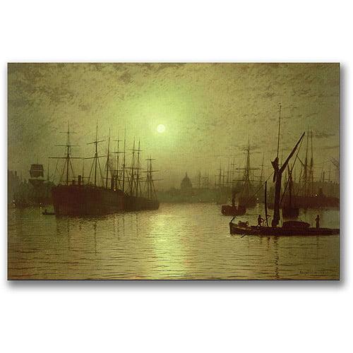 "Trademark Fine Art ""Nightfall Down The Thames, 1880"" Canvas Wall Art by John Atkinson Grimshaw"