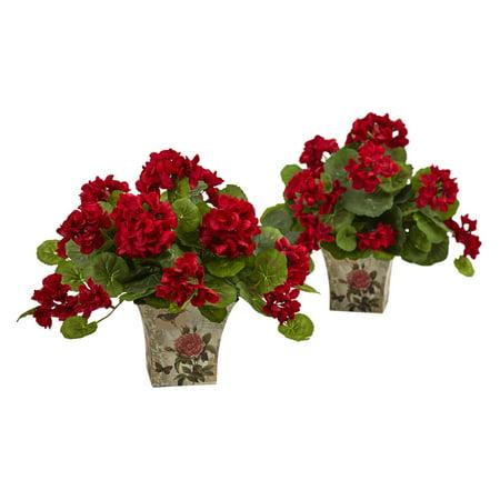 Nearly Natural Geranium Flowering Silk Plant - Set of 2