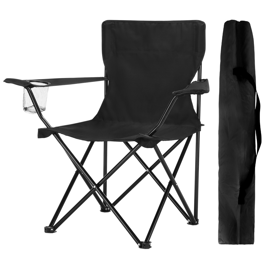 Finether Compact Portable Aluminum Folding Camping Chair Arm Chair with Mesh Cup Holder and Carry Bag for Outdoor Camping Fishing Picnic Barbeque Trade Show, Black