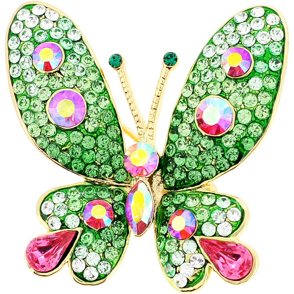 Green and Pink Butterfly Crystal Pin Brooches by