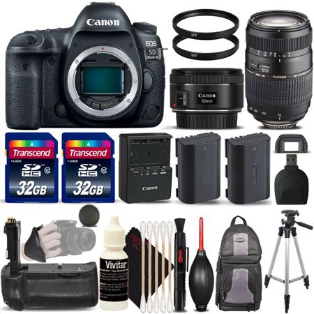 Canon EOS 5D Mark IV Full Frame Wi-Fi DSLR Camera Body with 50mm 1.8 STM, Tamron 70-300mm Lens and Deluxe Accessory Kit