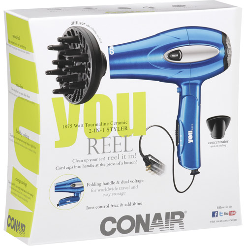 Conair Tourmaline Ceramic 2-In-1 Styler Hair Dryer 1875 Watt