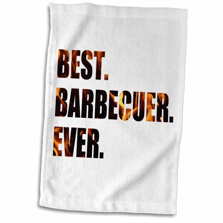 3dRose Best Barbecuer Ever - bbq grilling chef - barbecue grill king griller - Towel, 15 by