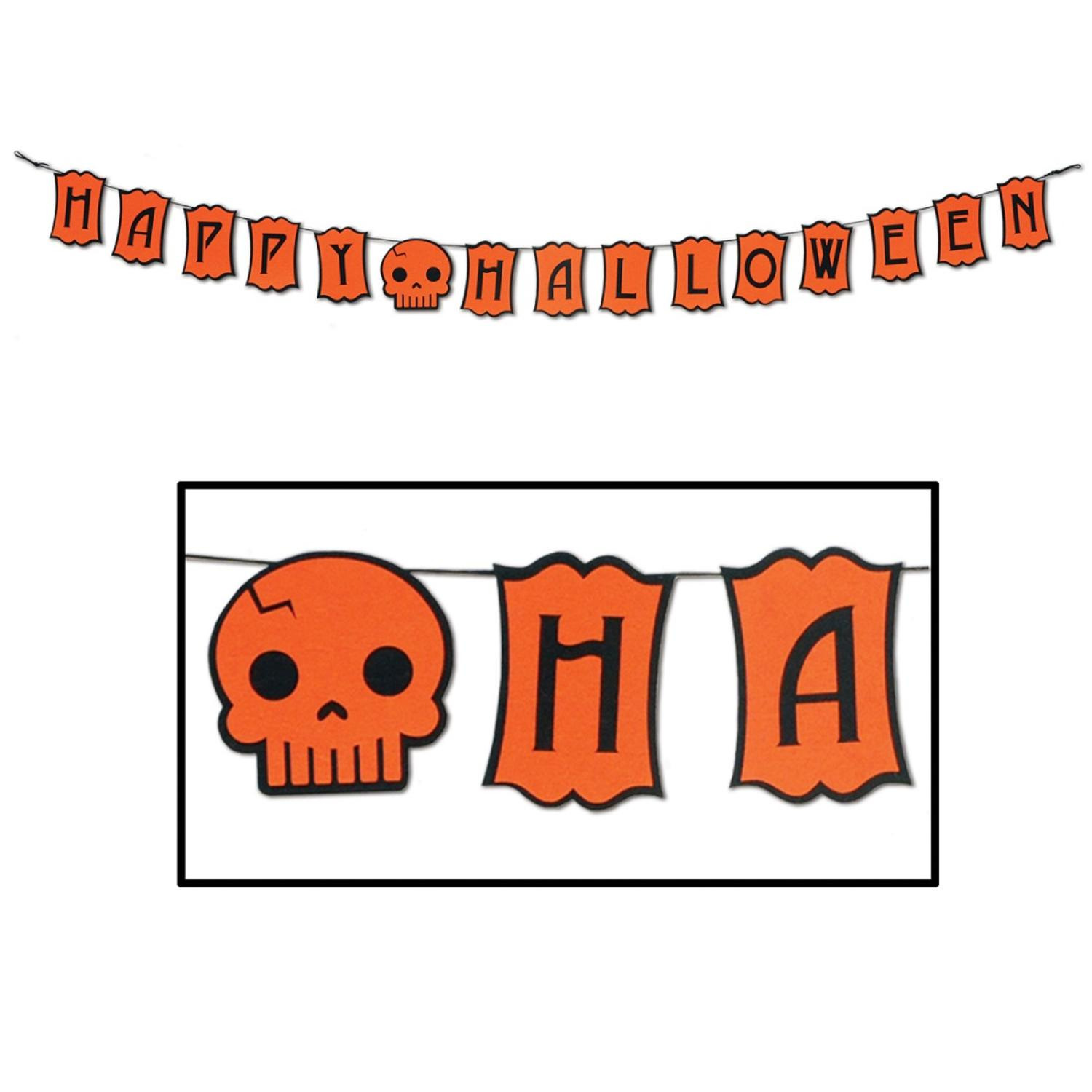 Club Pack of 12 Happy Halloween Orange and Black Jointed Felt Holiday Streamers 6'
