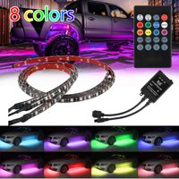 "4Pcs 8 Colors Multicolor RGB IR Remote LED Strip Under Car Tube Underglow Music Sound Active Sensor Lights (36""x2, 24""x2)"