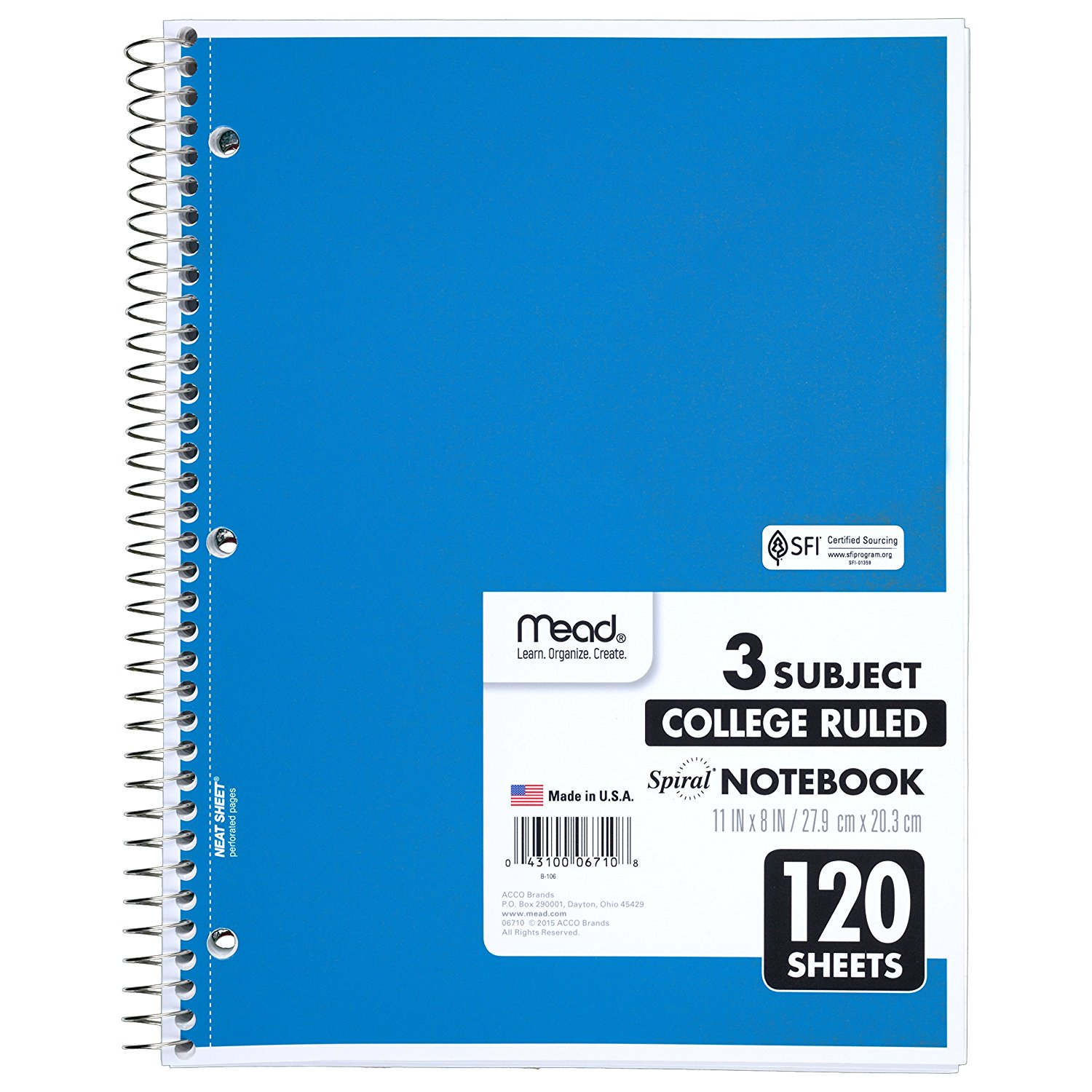 Mead Spiral Notebook 3 Subject College Ruled 8 X 11 Inch 120