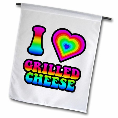 3dRose Groovy Hippie Rainbow I Heart Love Grilled Cheese Polyester 1'6'' x 1' Garden Flag