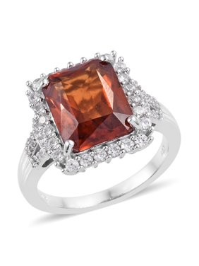 Halo Ring 925 Sterling Silver Platinum Plated Premium AAA Hessonite Garnet Zircon Gift Jewelry for Women 8 Ct 6.7