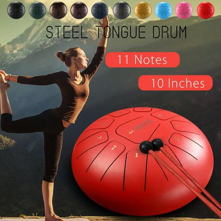 Grtsunsea 10 Inch Steel Tongue Drum Handpan Drum Hand Drum D Major 11 Tones Percussion Instrument with Mallets & Bag for Meditation Yoga Zazen Sound Healing