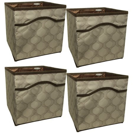 Rubbermaid Folding - 4 Pack Rubbermaid Collapsible Beige Canvas Basket Storage Containers Cubes Bins Folding Set