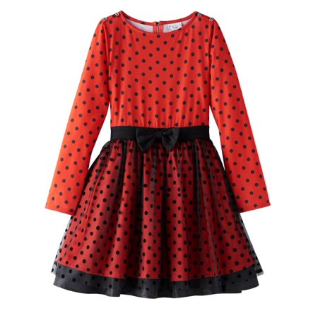 Disney D-Signed Girls Red & Black Polka Dot Minnie Mouse Party Holiday Dress M (Minnie Mouse Party Dress)