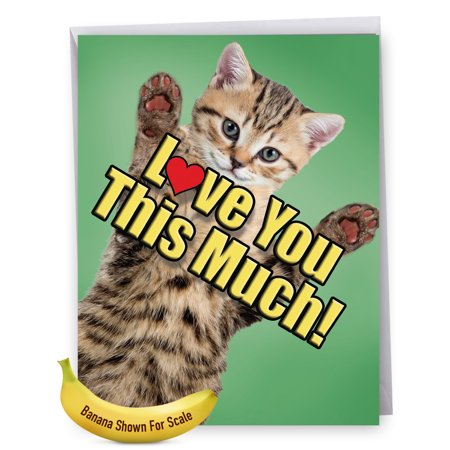 J6610HFDG Extra Large Father's Day Greeting Card: 'J6610HFDG Father's: Cat Love You This Much - Featuring a Sweet...' Featuring a Sweet Cat Holding Arms Wide to Show You How Much It Loves You, Greetin Angel Cat Greeting Card