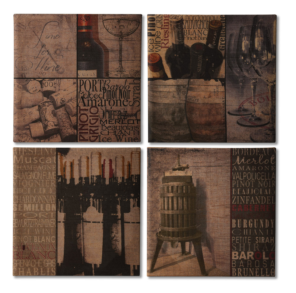 Elegant Burlap Canvas Wine Lovers Art Collection Set Of 4
