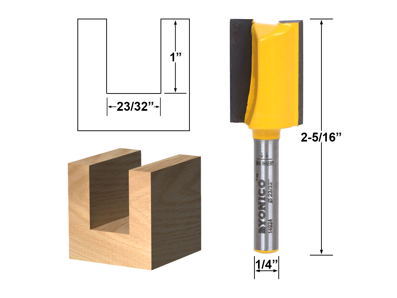 "Undersized Plywood Straight Dado Router Bit 23 32"" Dia. X 1"" Length 1 4""... by Yonico"